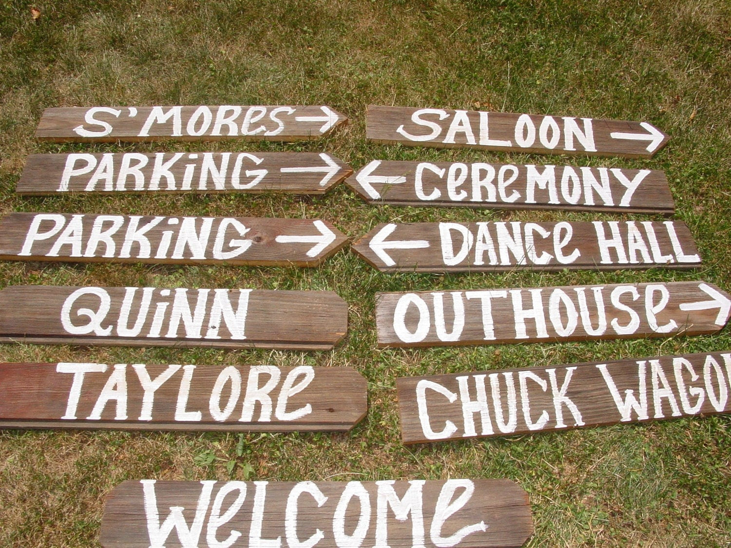 5 directional wood  Barn rustic rustic Stakes w/ YOUR  Signs NAME  Wedding SIGN sign