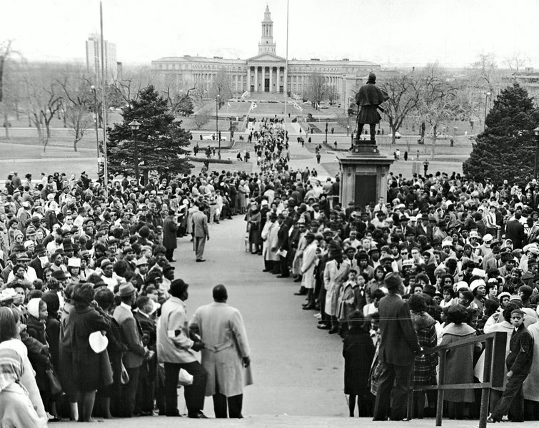 Description of  MAR 13 1965 - Coloradans mass at the State Capitol for Demonstration in support of Selma, Ala. Marchers are still arriving at the rear at the civil rights rally in which some 5,000 participated. (Dave Buresh /The Denver Post)