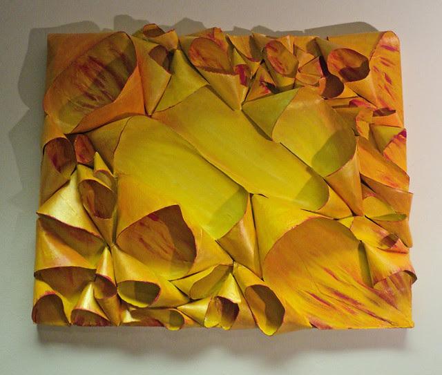 Shanda's Sunrise, pod painting by Tiffany Gholar, acrylic on cardboard