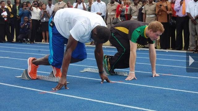 Corredor Usain Bolt desafia Príncipe Harry numa pista da Jamaica