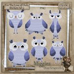 CU Hand Drawn For the love of Owls Clipart Stickers 2