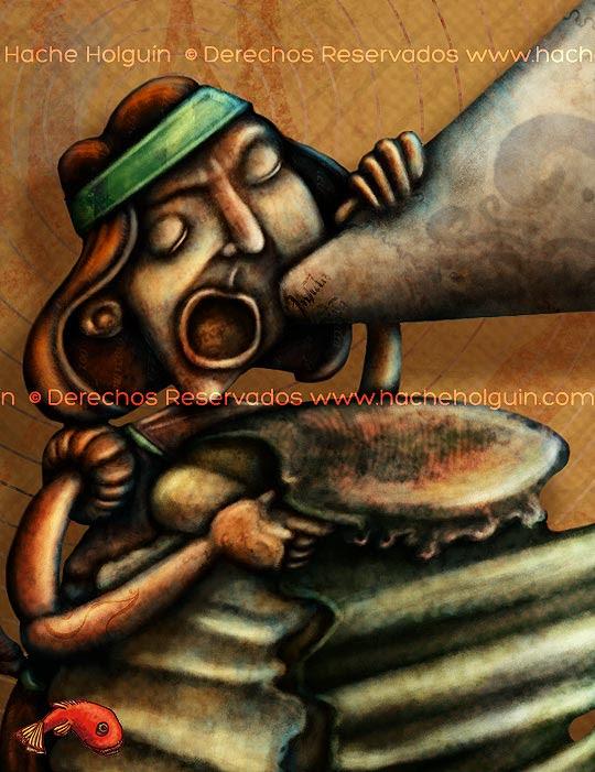 Ilustración Portada Chasquis, detalle por Hache Holguín