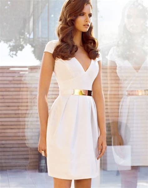 Beautiful White Dress with Gold Belt http://www