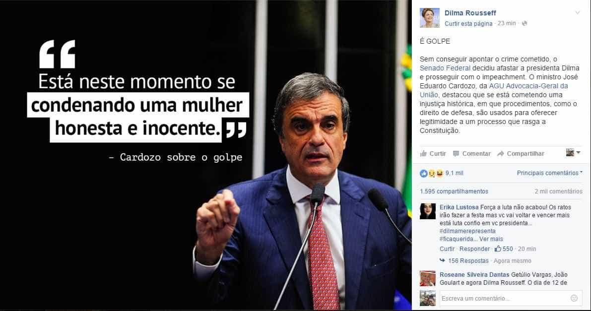 """Em post, Dilma chama decisão do Senado de """"injustiça histórica"""""""