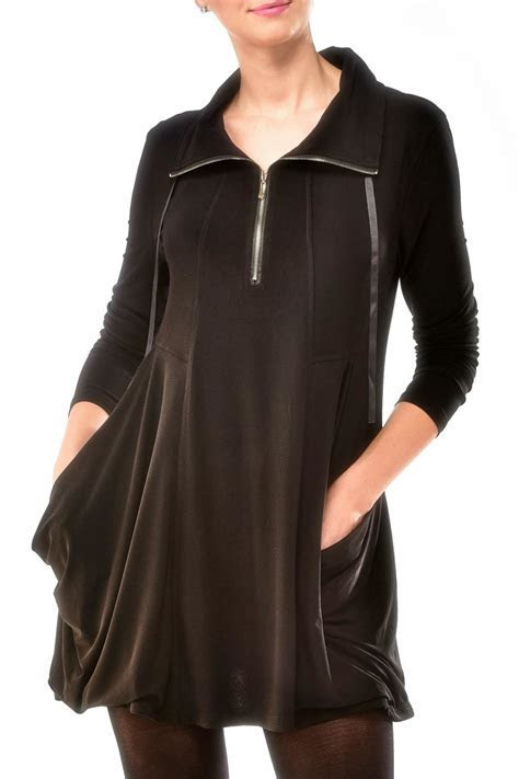 Charlie Paige Zippered Knit Tunic Top from New York by