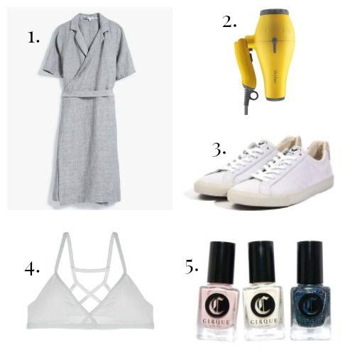 Just Female Dress - DryBar Hair Dryer - Veja Sneakers - True and Co. Bra - Cirque Nail Polish