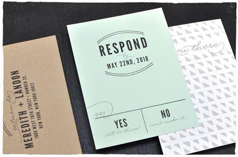 Hudson Wedding Invitation RSVP card   hipster, modern