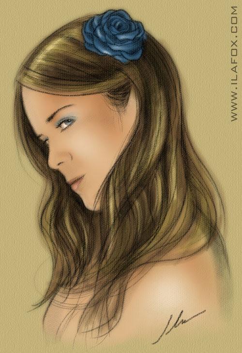 auto retrato ila fox giz pastel com rosa azul gabi moreli