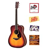 Yamaha FG720S Folk Acoustic Guitar Bundle with Instructional DVD, Strings, Pick Card, and Polishing Cloth - Brown...