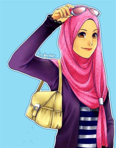gambar perempuan hijab animasi nusagates