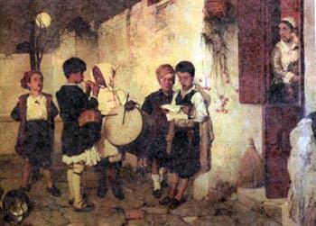πίνακας του Λύτρα με παιδιά που λένε τα Κάλαντα