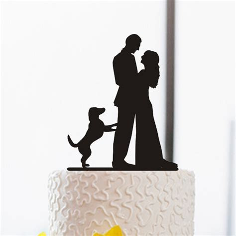 Wedding Cake Topper Silhouette Cake Topper With Dog Funny