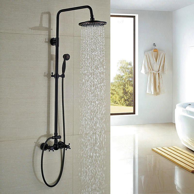 Matte Black Shower Fixture Antique Black Bronze Bathroom Wall Mount