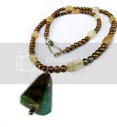 Genuine Faceted Chrysoprase Gold Freshwater Pearls Rutile Necklace