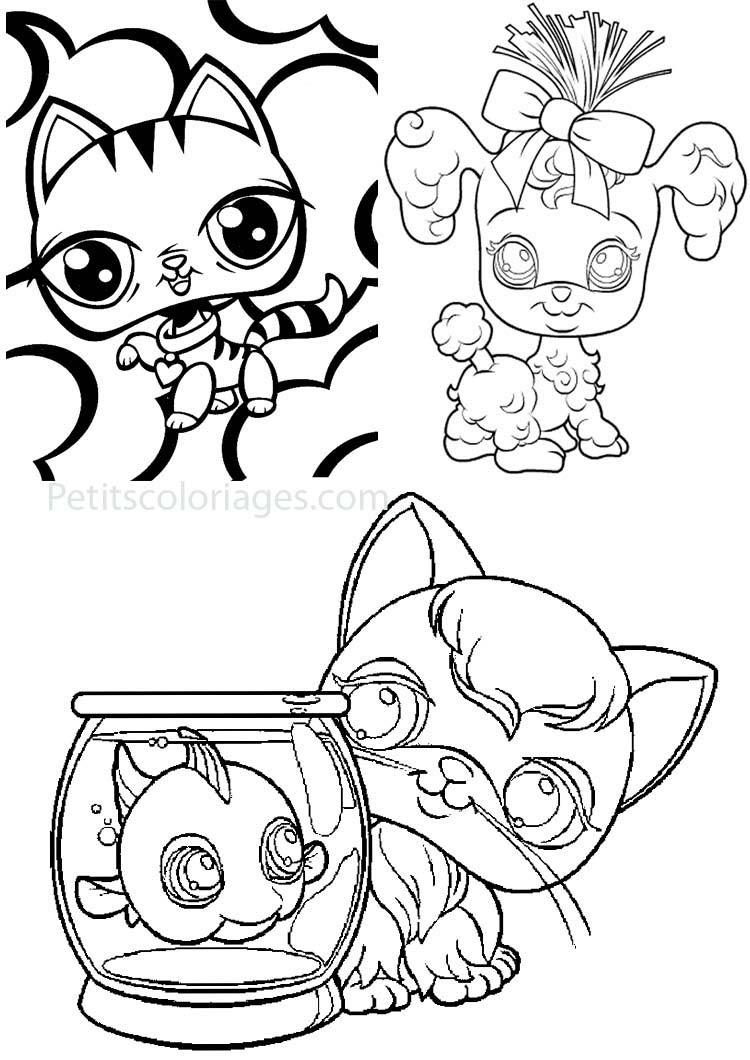 Petits coloriages petshop poisson chat chien