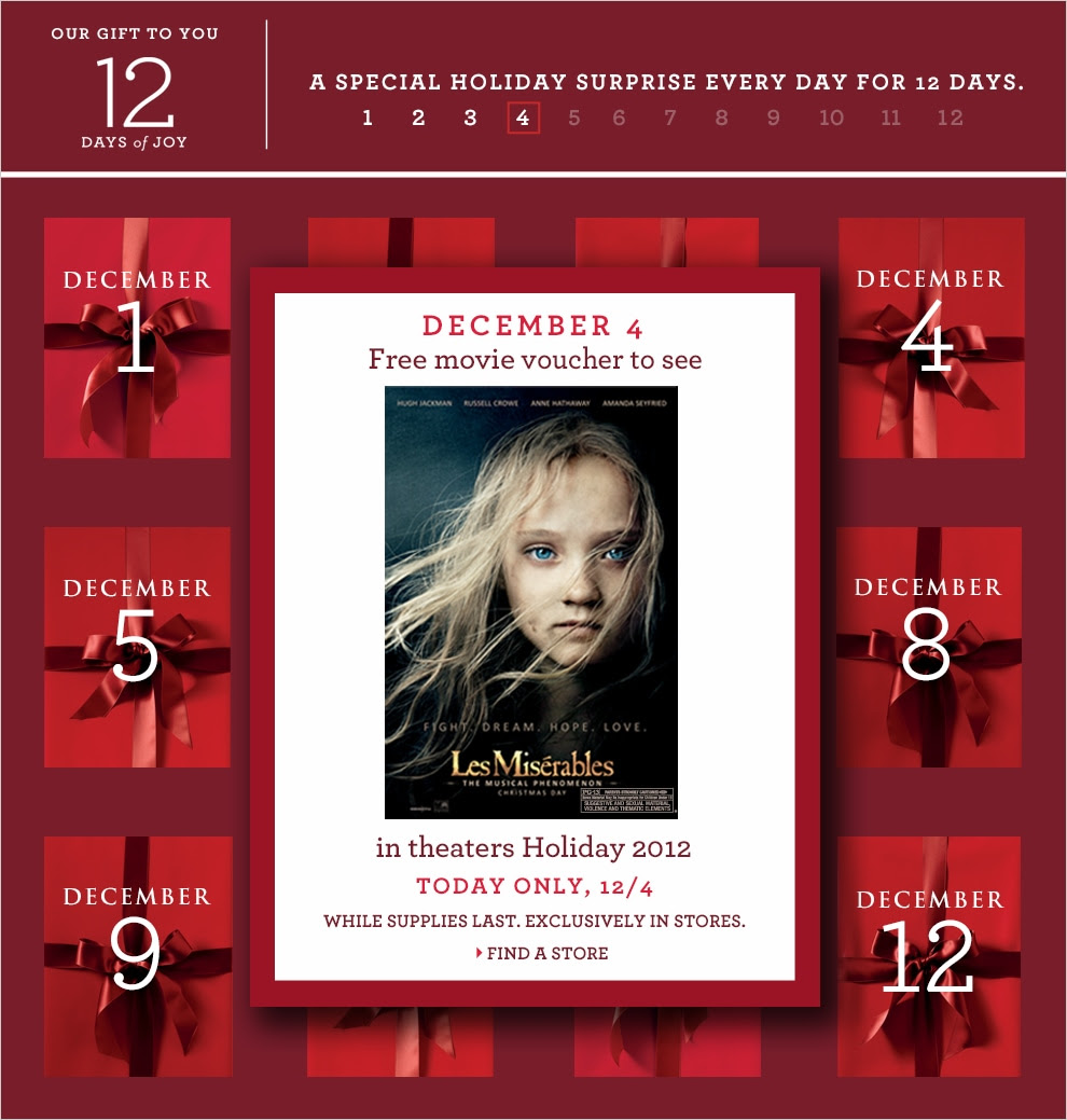 December 4 Free Movie Voucher to see Les Miserables in theaters Holiday 2012 in stores only