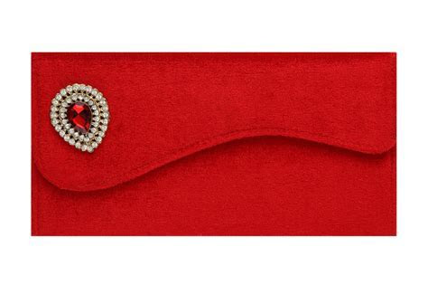 Velvet Wedding Envelope with Brooch in Rich Red