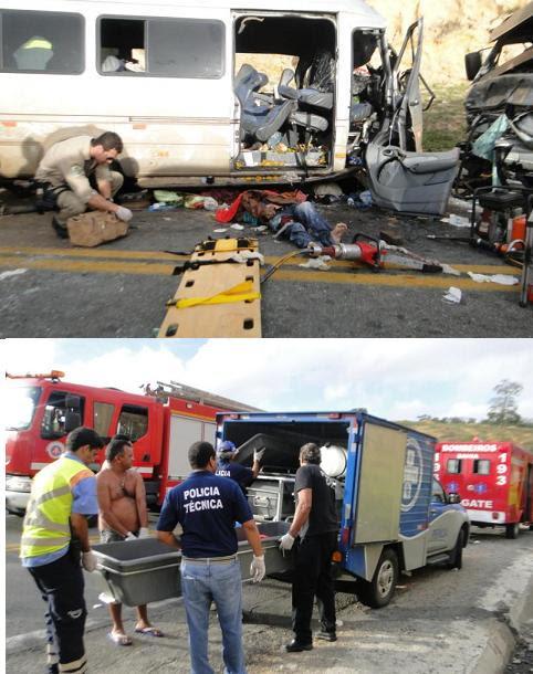 Trabalho das equipes de socorro no local do acidente