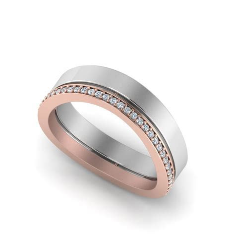 Customize Two Tone Engagement Rings or Mens Wedding Bands