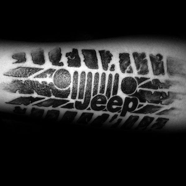 Jeep Logo With Tire Tread Mens Forearm Tattoo