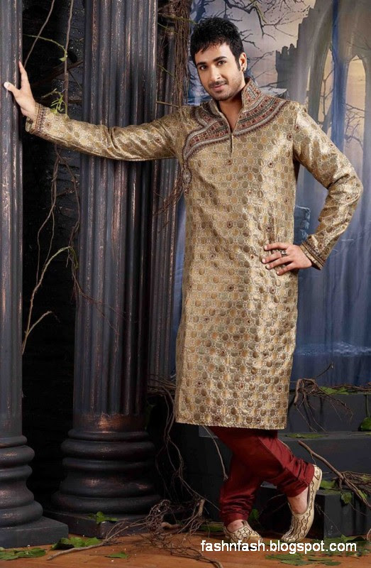 Kurtas Designs-Men-Male New Latest Silk-Cotton Kurta Style Design Collection3