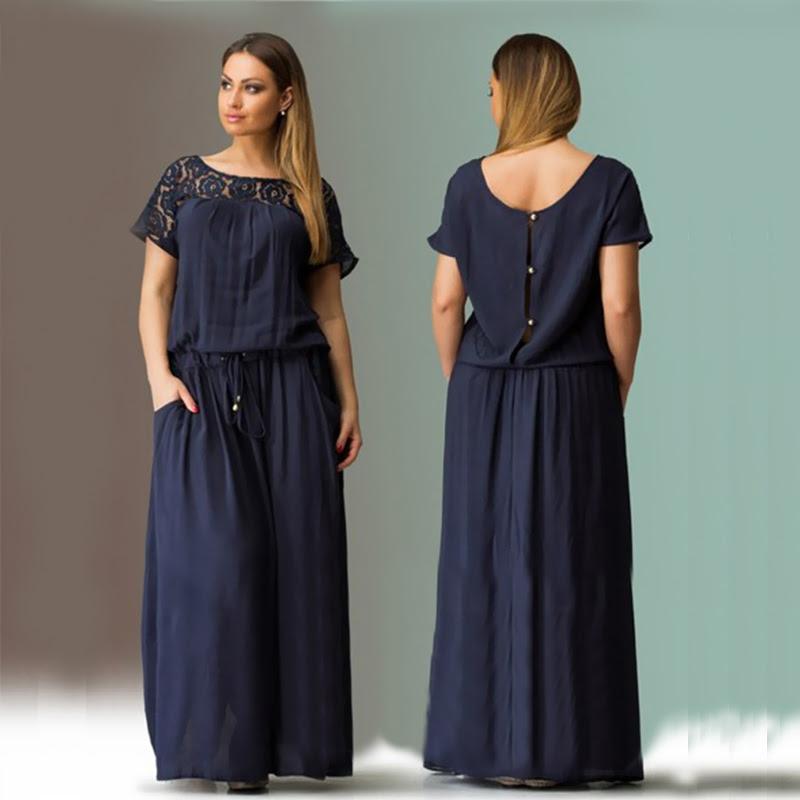 short sleeve lace summer dress big sizes 2017 new women