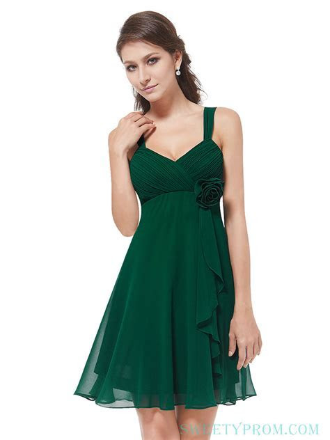 Chiffon Tank Crinkle Green Bridesmaid Dresses Short With