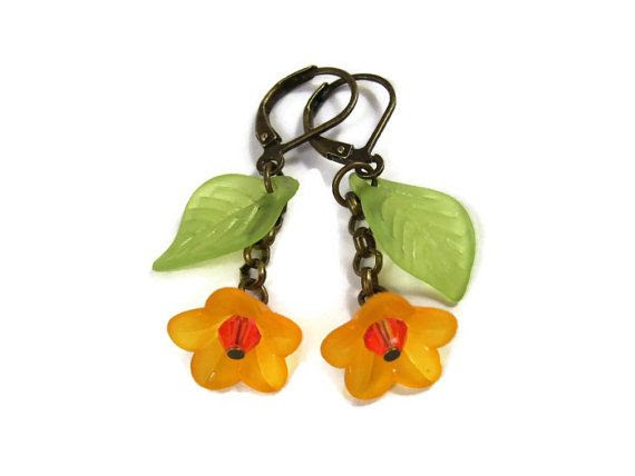Flower Earrings Orange Blossoms Colorful and Brass by justEARRINGS, $10.00 https://www.etsy.com/listing/62993051/flower-earrings-orange-blossoms-colorful