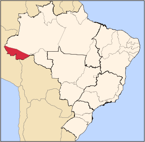 Map locator of Brazil's Acre state