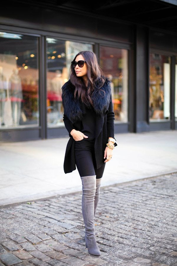 Loose sweater with a fur collar - and those Stewart Weitzman OTK boots again...how I want them...love them in grey...