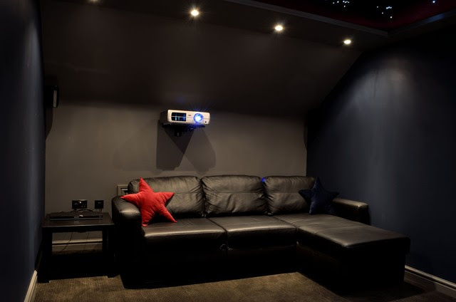 Cinema seating area and projector - Modern - Home Theater - other ...