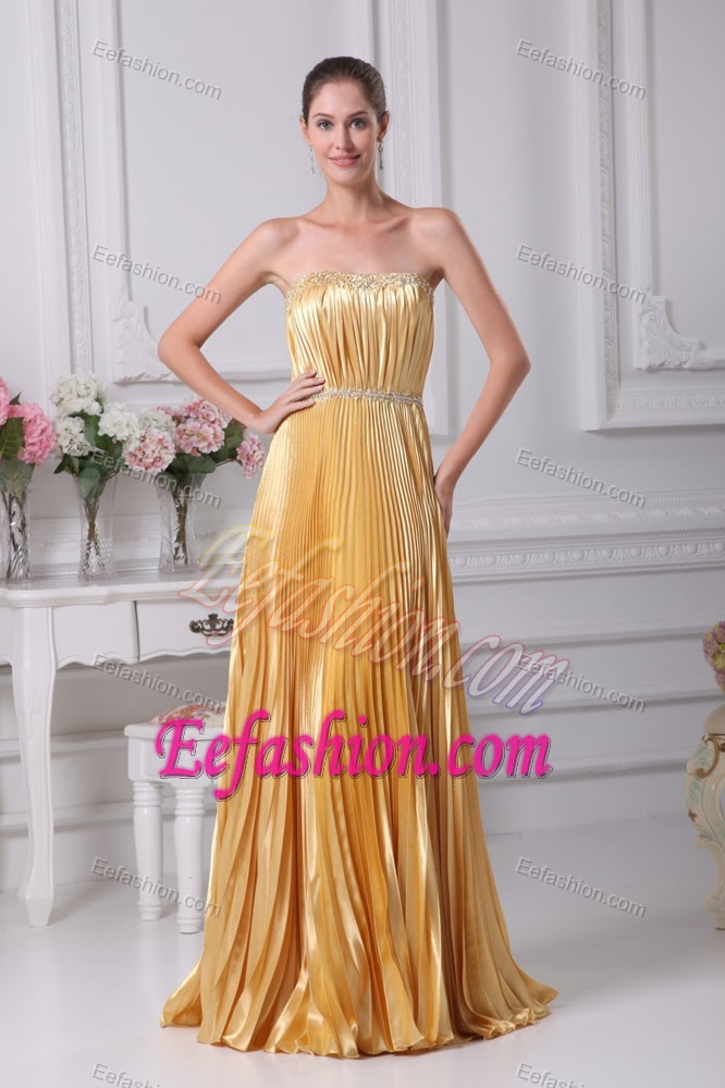 cheap strapless beaded wedding guest dress with pleating