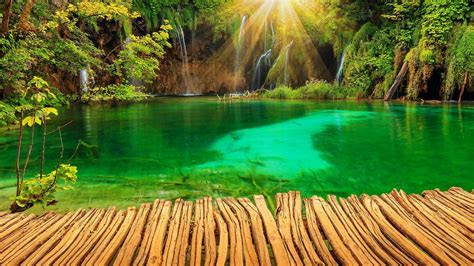 Croatia Parks Lake Waterfall Plitvice Rays Of Light Nature