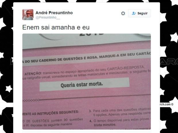 Expectativa pela liberação das notas do Enem 2015 motivou posts no Twitter. (Foto: Reprodução/Twitter)