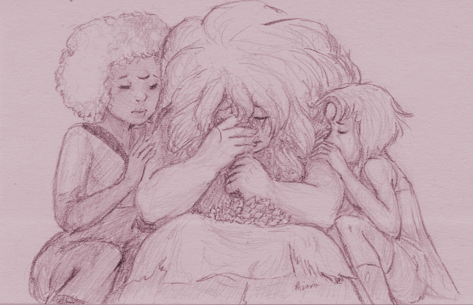 3x5″ post-it note. In case it's not clear, that's a pile of shards in Rose's lap. They were friends. Allies. Lovers. In the end, there was nothing that could be done for them.
