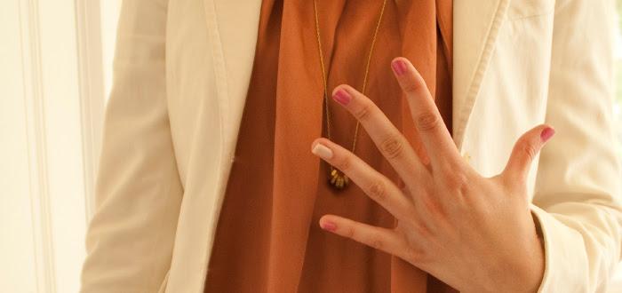 pink manicure pinkicure dashdotdotty dash dot dotty super cool fashion blog joie dress rust theory jacket white wedges mrkt hexnuts