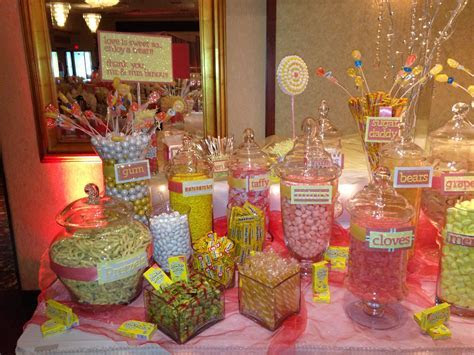 Yellow and coral wedding candy bar.   Candy buffet for