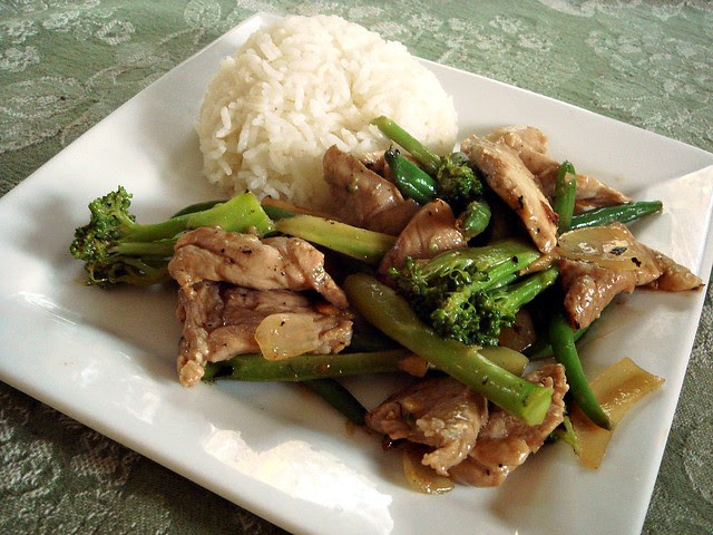 Pork, Broccoli, and Green Bean Stir Fry