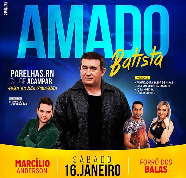 Cartaz de divulgação do show de Amado Batista no Clube Acampar (Foto: Reprodução)