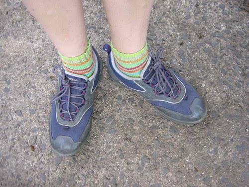 Striped cycling socks
