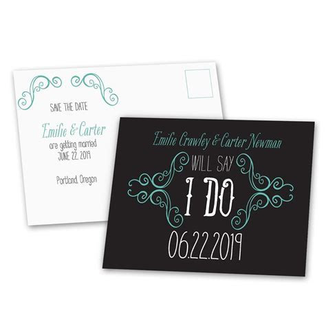 Charming Scrollwork Save the Date Postcard   Ann's Bridal