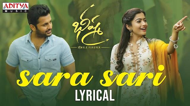 Sara Sari Lyrics – Bheeshma (Telugu Movie) | by Anurag Kulkarni