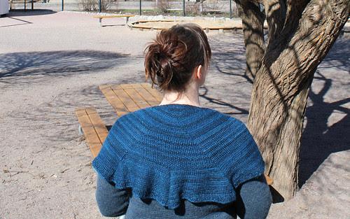 Blue whale shawl/handspun