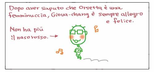 Dopo aver saputo che Orsetta è una femminuccia, Giova-chang è sempre allegro e felice. Non ha più il naso rosso->