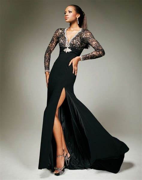 sexy black lace beads long sleeve wedding party evening