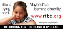 "RFB&D's new billboard, ""She is trying hard, maybe it's a learning disability."""