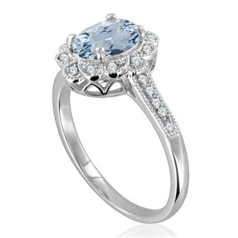 Milgrain Halo Diamond and Aquamarine Ring in 14k White Gold