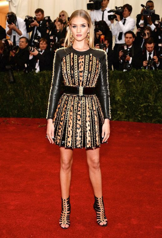 Le Fashion Blog 7 Best 2014 Met Gala Looks Rosie Huntington Whiteley Balmain Leather Sleeve Short Dress Strappy Ankle Boots photo Le-Fashion-Blog-7-Best-2014-Met-Gala-Looks-Rosie-Huntington-Whiteley-Balmain.jpg