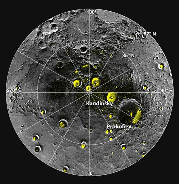 A mosaic of MESSENGER images of Mercury's north polar region...showing craters that harbor water ice.