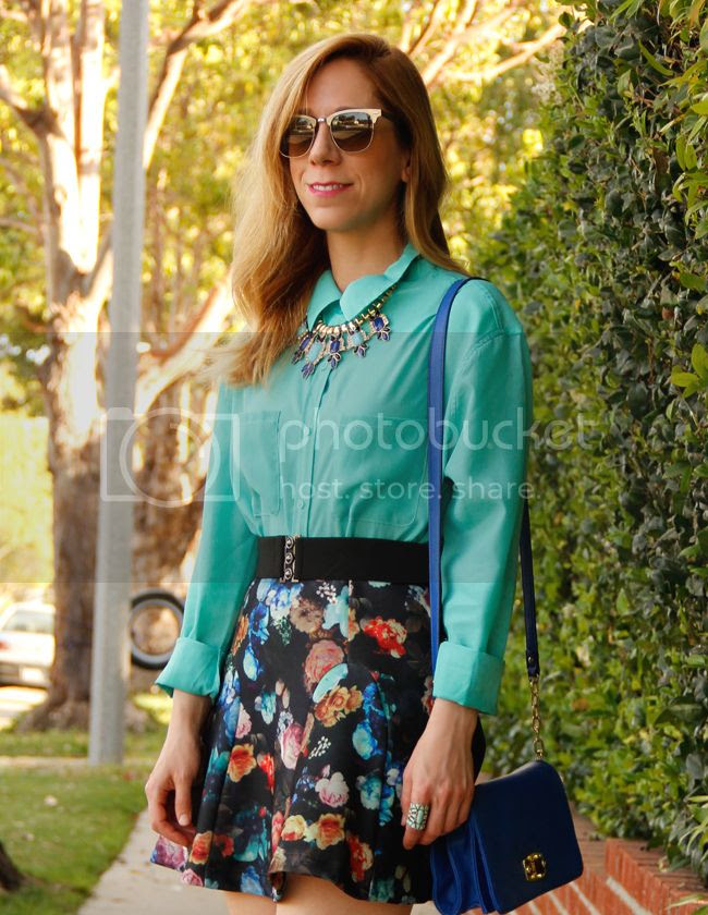Target Mossimo mint blouse, Mossimo floral scuba skirt, statement fan necklace, and Merona turnlock mini crossbody bag